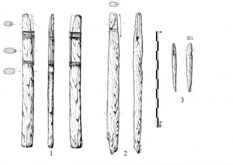 Drawing of hafting scenarios