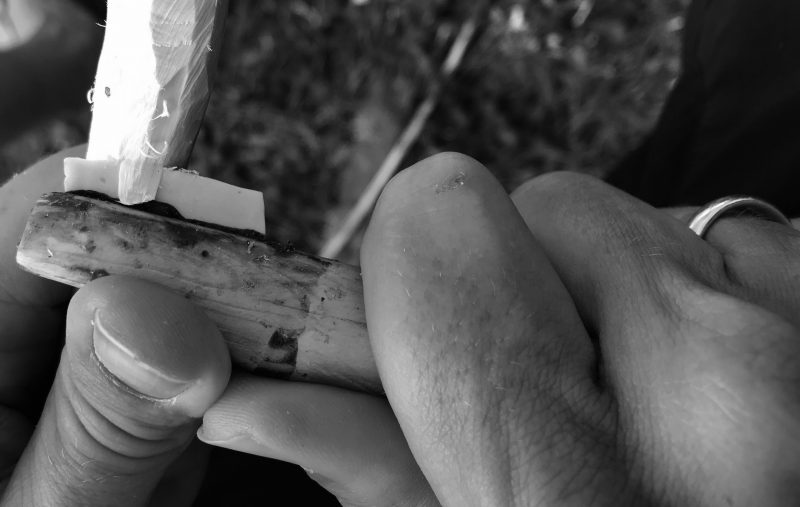 Carving juniper wood