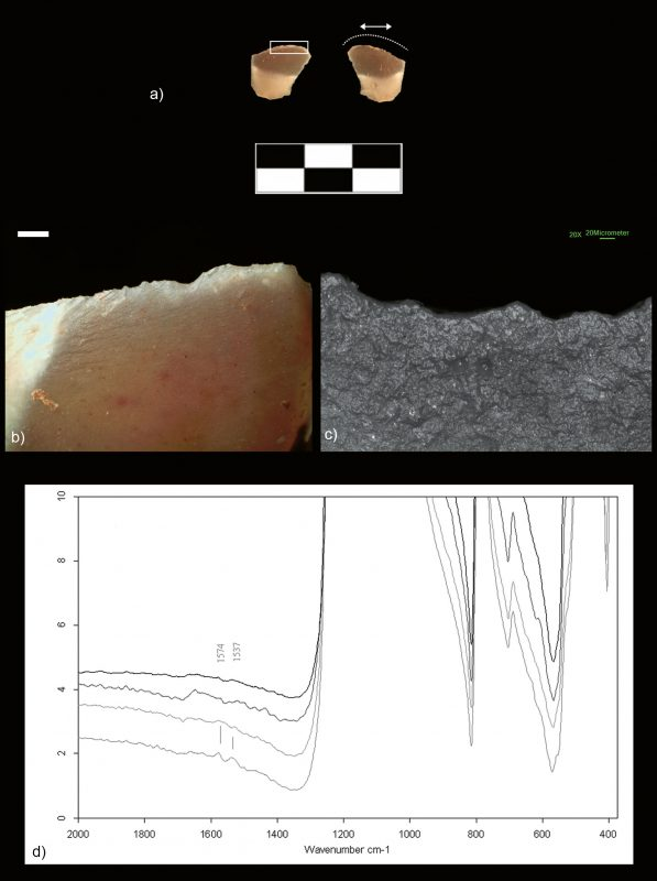 Use-wear traces and micro-FTIR results