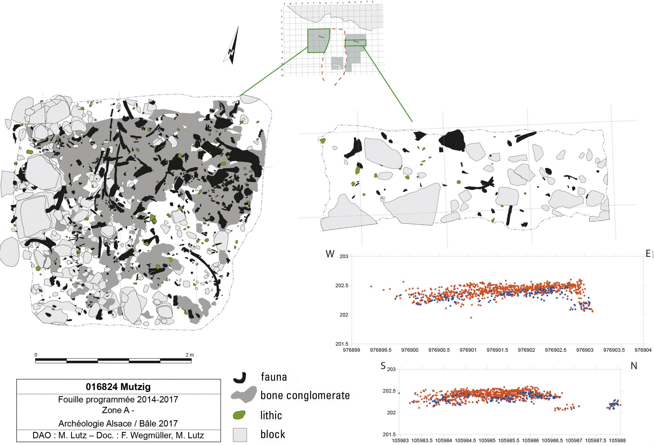 Spatial distribution of remains in Layer 7A